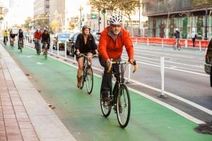 Protected bike lane San Francisco
