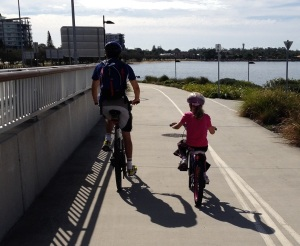 Father and child on Hornibrook bikeway