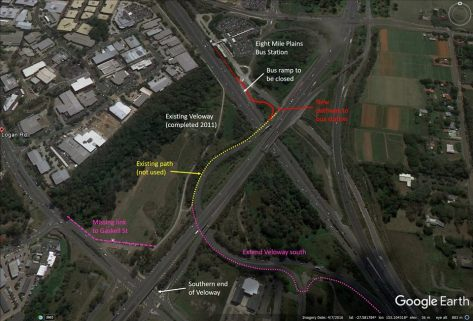 Eight Mile Plains Bus Station could be easily linked to the Veloway, and residential areas to the west of Logan Road